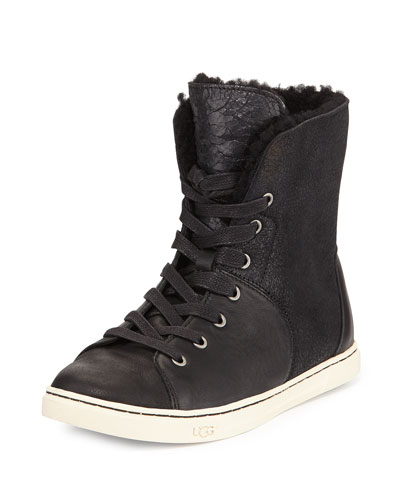 Croft Fur-Lined High-Top Sneaker, Black