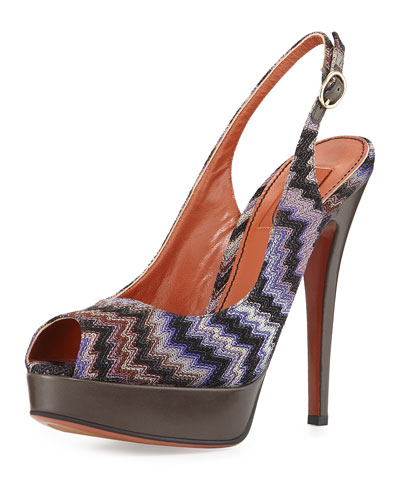 Peep-Toe Knit Pump, Purple Multi