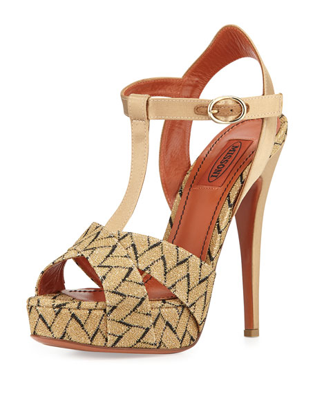 Chevron-Pattern High-Heel Sandal, Gold/Black