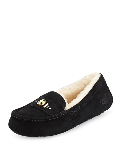 Ansley Chunky Crystal Slipper, Black