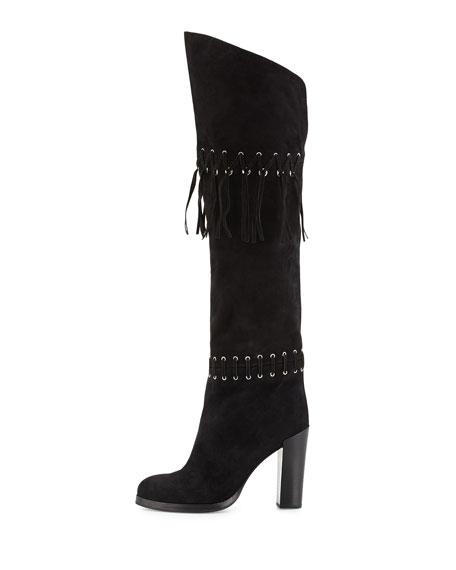 Bardot Fringe Over-the-Knee Boot, Black