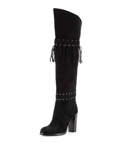 Bardot Fringe Over-the-Knee Boot, Black