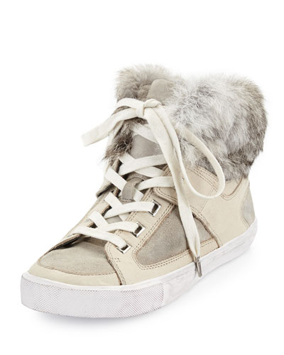 Shiloh Faux-Fur High-Top Sneaker, Stone