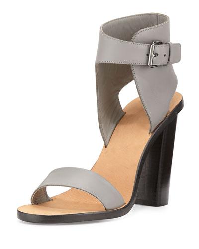 Nicole Leather Ankle-Cuff Sandal, Truffle