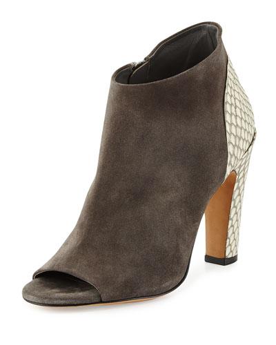 Sierra Peep-Toe Ankle Bootie, Charcoal