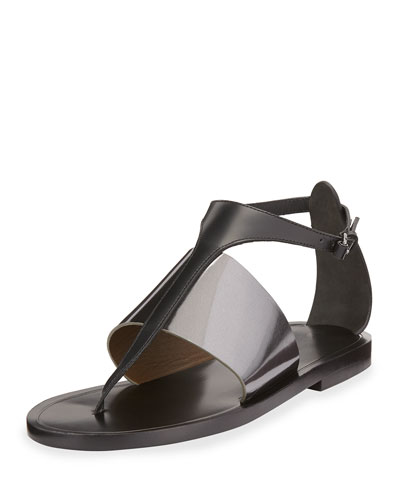 Thea Leather Thong Sandal, Rutenio/Black