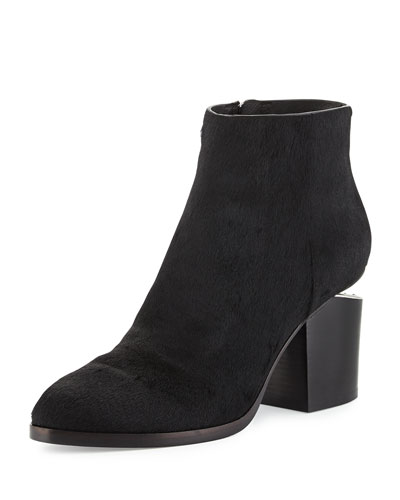 Gabi Calf-Hair Ankle Bootie, Black