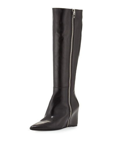 Lea Tall Leather Wedge Boot, Black