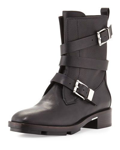 Louise Leather Moto Boot, Black