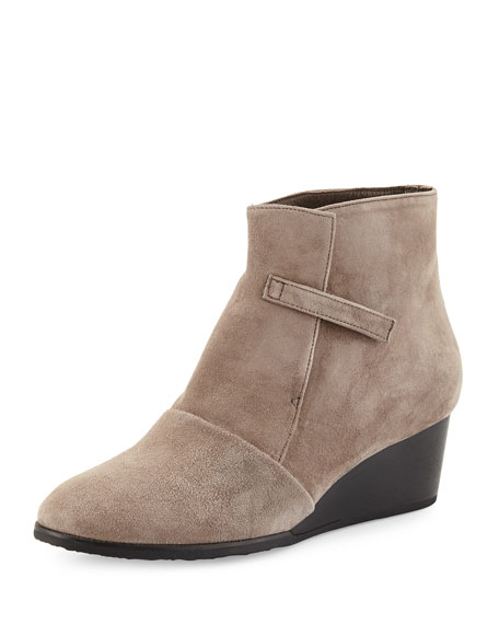 Opal Suede Wedge Bootie, Gray (Ante Fog)
