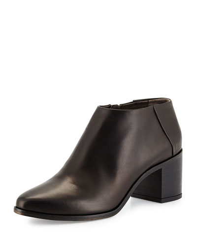 Zig Leather Ankle Bootie, Black