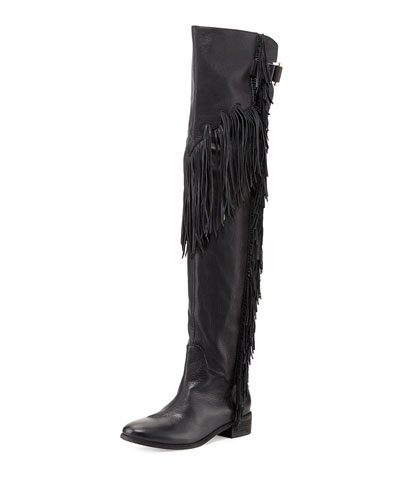 Epona Fringe Over-the-Knee Boot, Black