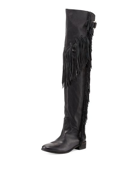 Epona Fringe Over-the-Knee Boot, Black