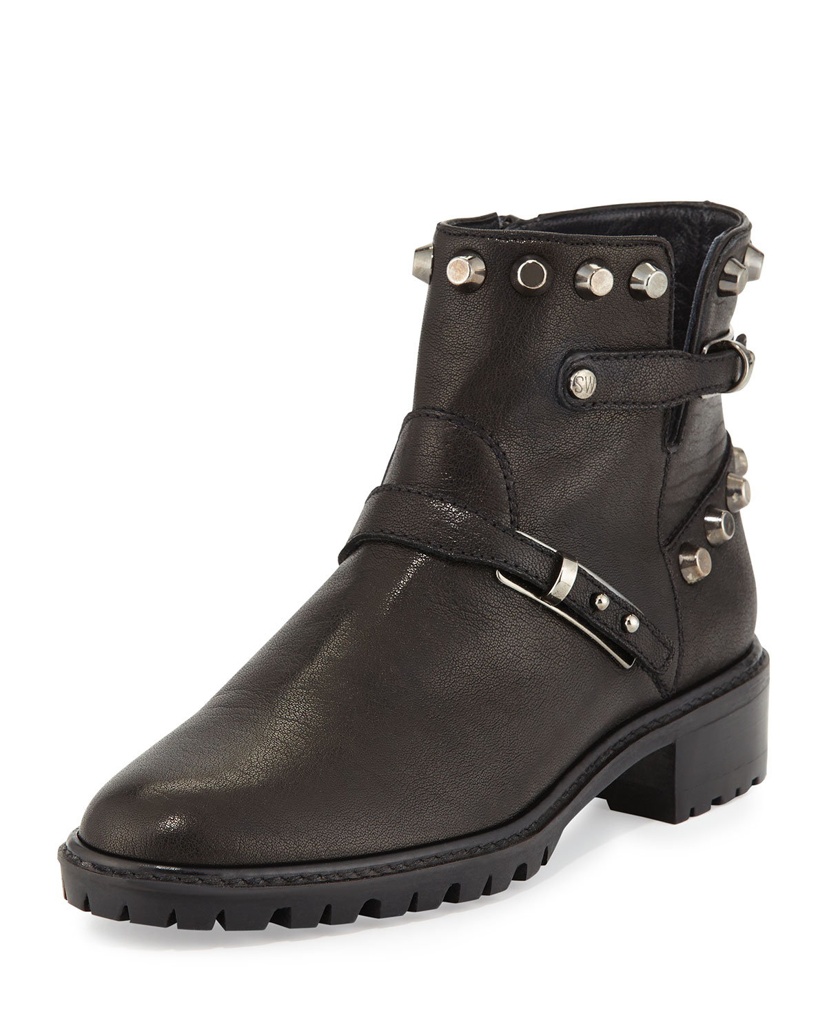Go West Studded Leather Ankle Boot, Black by Stuart Weitzman