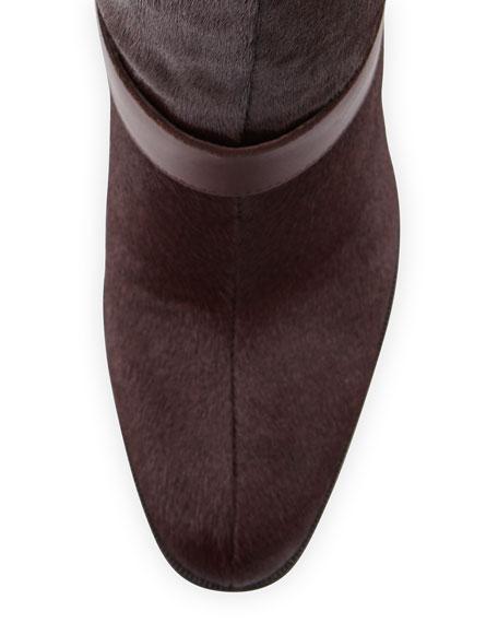 Owen Calf Hair Knee Boot, Garnet