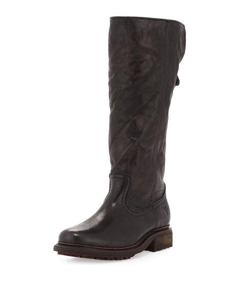 Frye Valerie Shearling Fur-Lined Knee Boot, Black