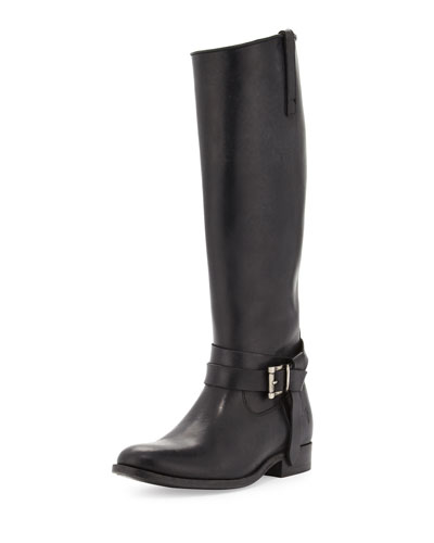 Melissa Knotted-Strap Riding Boot, Black