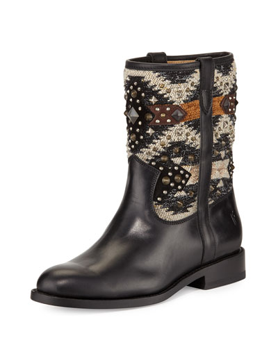Jayden Studded Leather Boot, Black/Multi