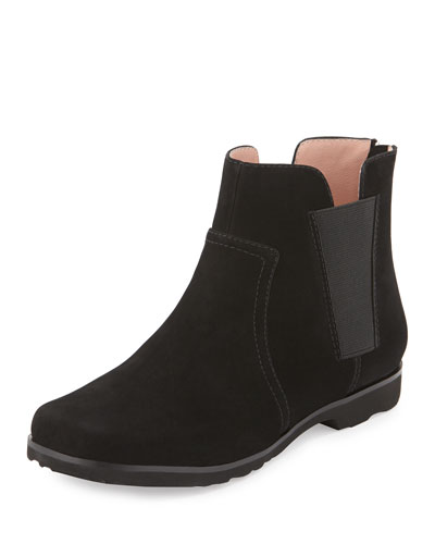 Jervin Flat Nubuck Ankle Boot, Black
