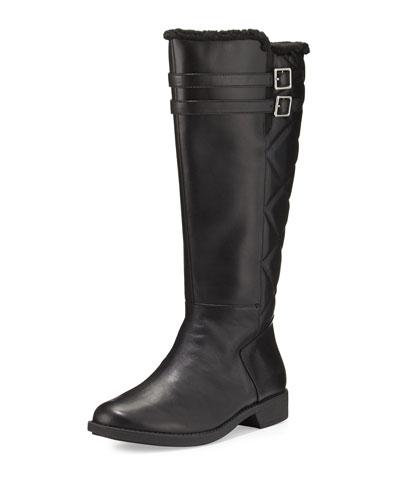 Arnie Waterproof Leather Knee Boot, Black