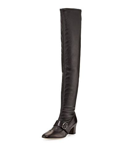 Zee Over-the-Knee Leather Boot, Black