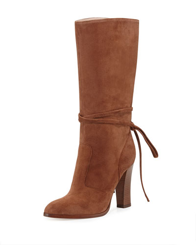 Jade Suede Mid-Calf Boot, Cinnamon