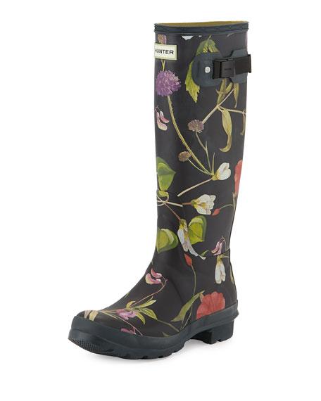 Floral-Print Tall Rain Boot, Black