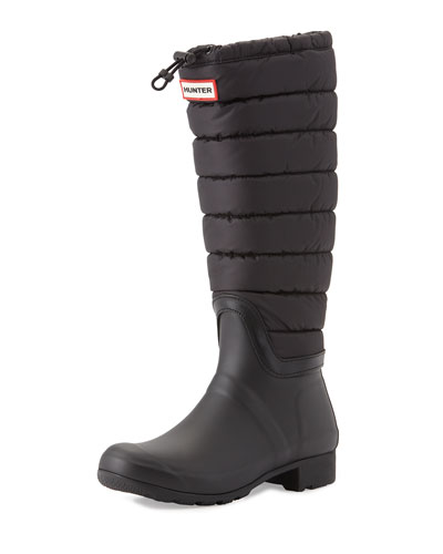Original Quilted Rain Boot, Black