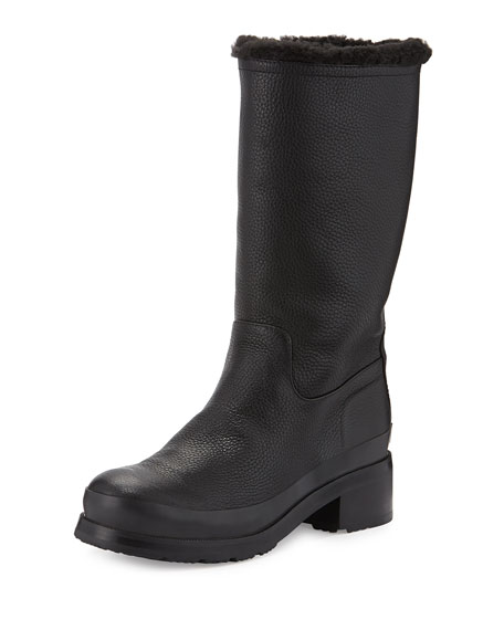 Hunter Boot Original Shearling-Lined Pull-On Boot, Black