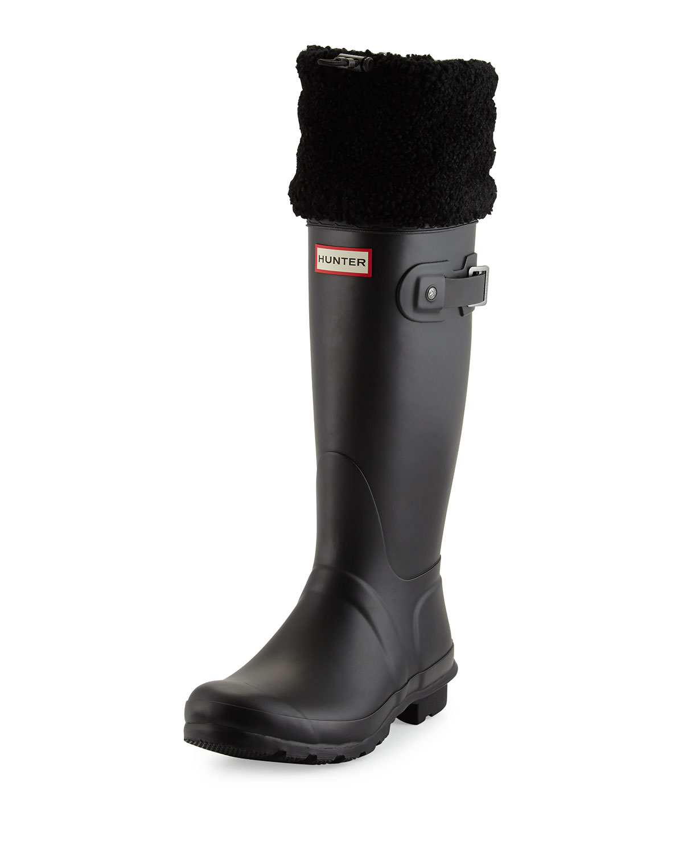 Hunter Boot Original Shearling Fur-Cuff Welly Boot, Black   Neiman Marcus