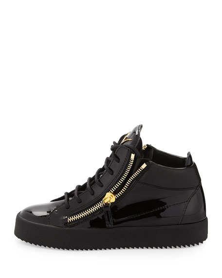 Mirrored Low-Top Zip Sneaker, Black