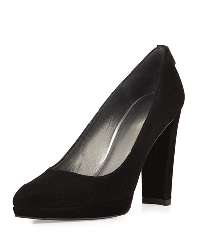 Logopower Suede Platform Pump, Black