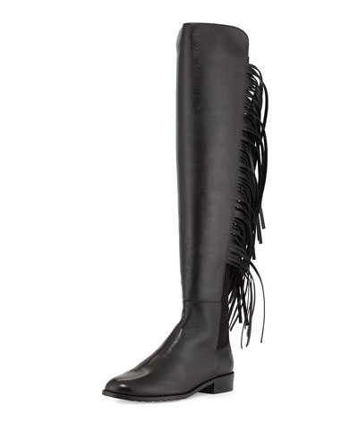 Mane Fringe Over-the-Knee Boot, Black
