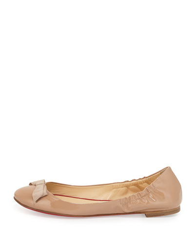 Gloriana Patent Bow Red Sole Skimmer, Nude