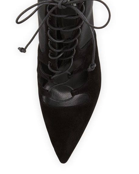 Dramaqueen Mesh Lace-Up Boot, Black