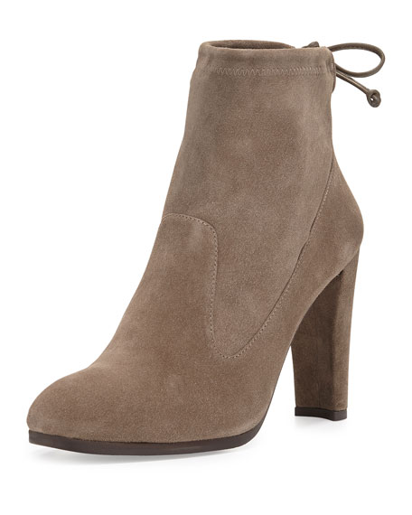 Glove Tie-Back Suede Ankle Boot, Praline