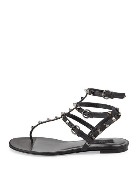 Rockstud Noir Flat Thong Sandal, Noir