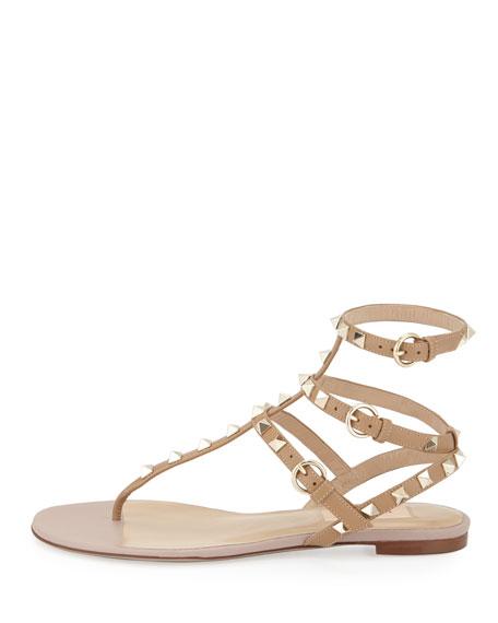 Rockstud Flat Thong Sandal, Alpaca/Poudre