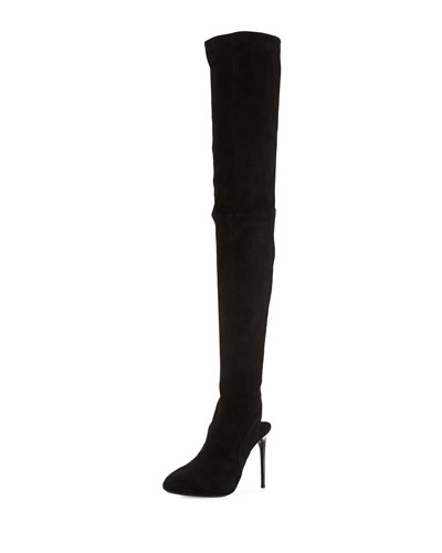 Suede Thigh-High Open-Heel Boot, Black