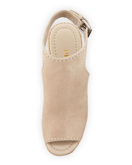 Open-Toe Suede Espadrille Sandal, Quartz (Quarzo)