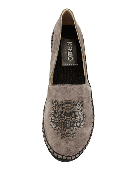 Suede Tiger Logo Espadrille Flat, Gray