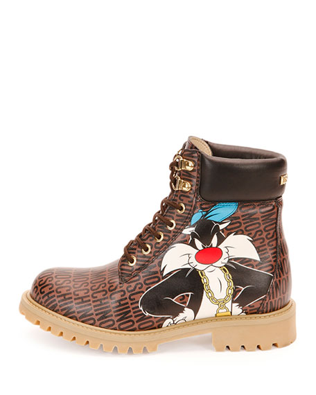 Looney Tunes Leather Hiking Boot, Brown/Multi