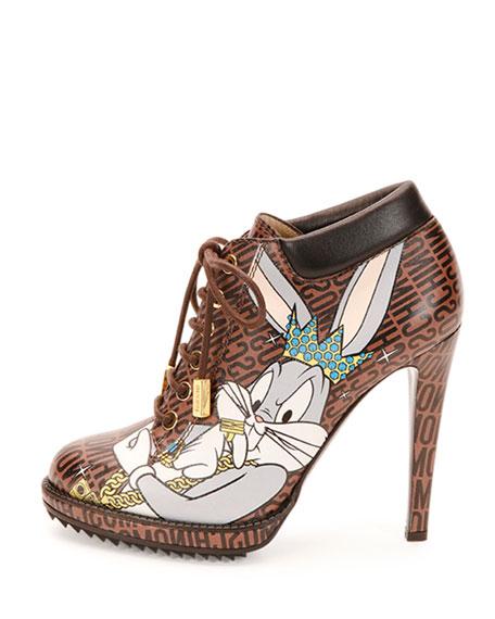 Looney Tunes Leather Stiletto Bootie, Brown/Multi
