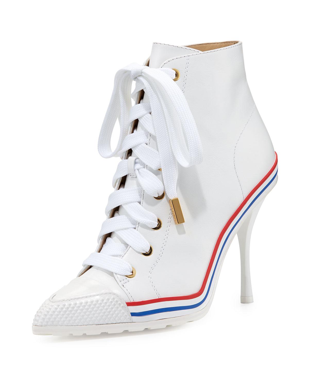 14241c69ef4 Moschino High-Heel Leather Sneaker-Bootie