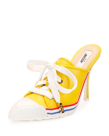 Leather Lace-Up Sneaker-Mule, Yellow