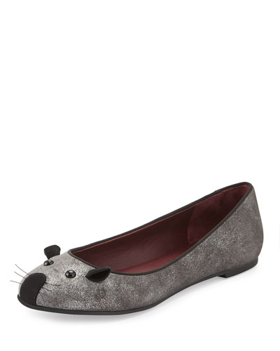 Rue Metallic Mouse Slipper, Silver