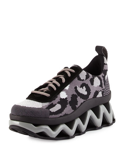 Ninja Leopard-Print Low-Top Sneaker, Gray/Multi