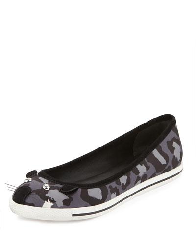 Leopard-Print Mouse Sneaker, Gray/Multi