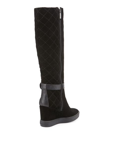 aquatalia callie faux shearling wedge boot black