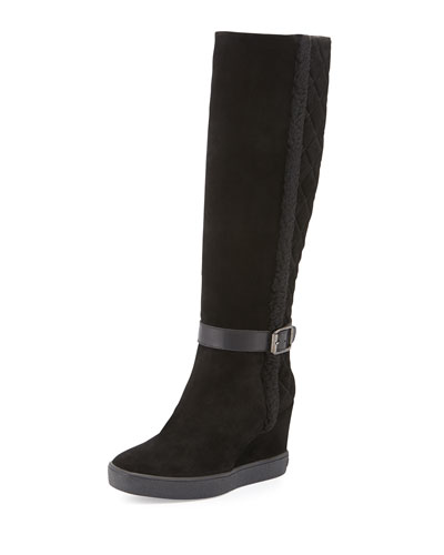 Callie Faux-Shearling Wedge Boot, Black